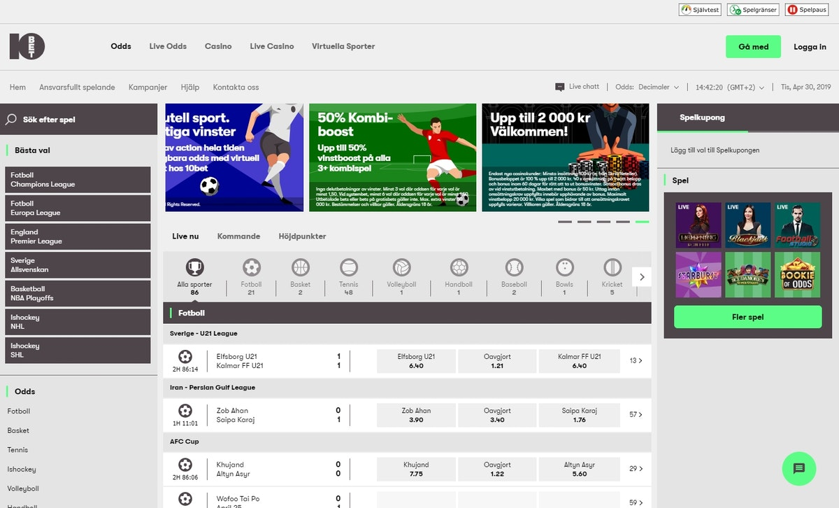 10Bet Sportsbook Site